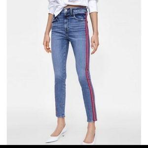 Zara high rise striped denim